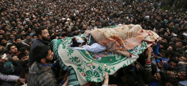 Thousands turn up for several rounds of funeral payers for slain militants in Kulgam
