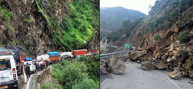 Traffic was disrupted on Srinagar-Jammu highway