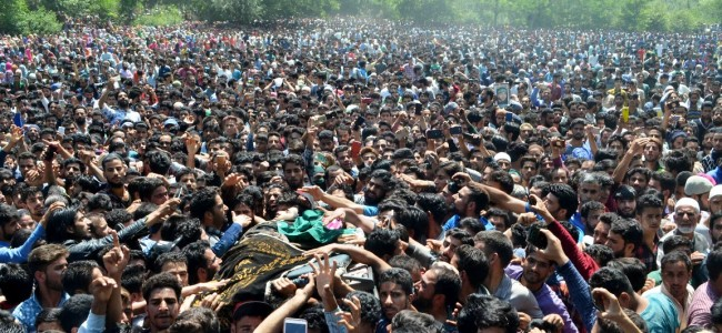 Thousands attend funeral prayers of LeT militant Shakoor, militants offer gun salute