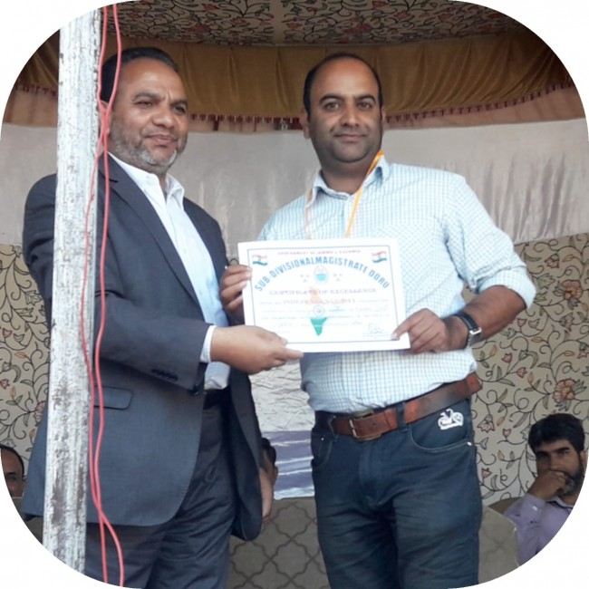UPI NEWS Bureau Kousar Gull was facilitied with appreciation from Sub Divisional Magistrate Dooru