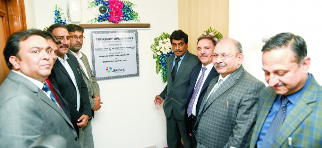 Bank starts full fledged treasury operations centre in Srinagar Economic prosperity of the state is interwoven with the financial soundness of the J&K Bank; Principal Secretary Finance.