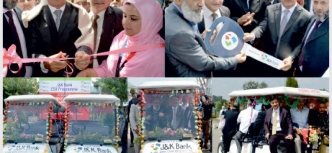 J&K Bank donates electric cars for specially-abled to Kashmir University