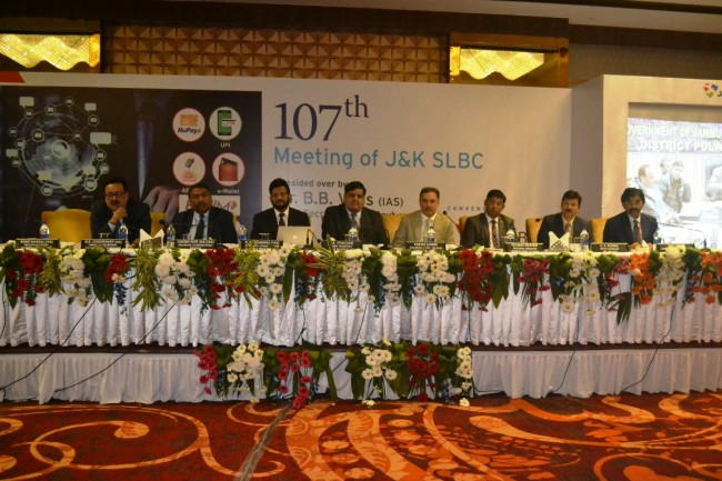 Jammu and Kashmir bank on Wednesday convened 107th meeting of J&K State Level Bankers' Committee (SLBC)