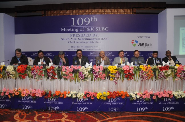 JK Bank convenes 109th meeting of J&K SLBC  Government committed to uplift the economic profile of farmers and artisans with improved flow of credit: BVR Subhramanyam