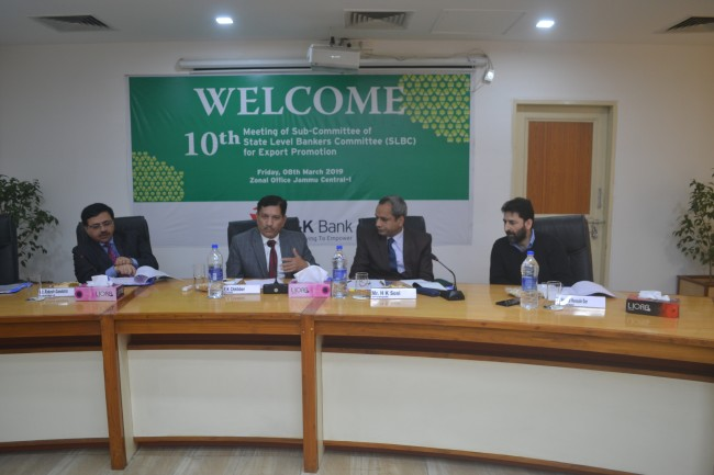 J&K Bank organizes SLBC's 10th Sub-committee meet for Export Promotion
