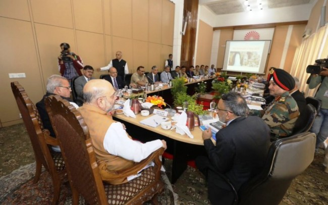 Amit Shah chairs high-level security meet in Srinagar
