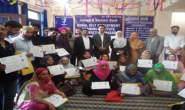JKB RSETI conducts valedictory function, distributes certificates among trainees