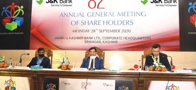 J&K Bank holds 82nd AGM of its shareholders UT Government's financial package of Rs 1350 Cr a game changer: CMD
