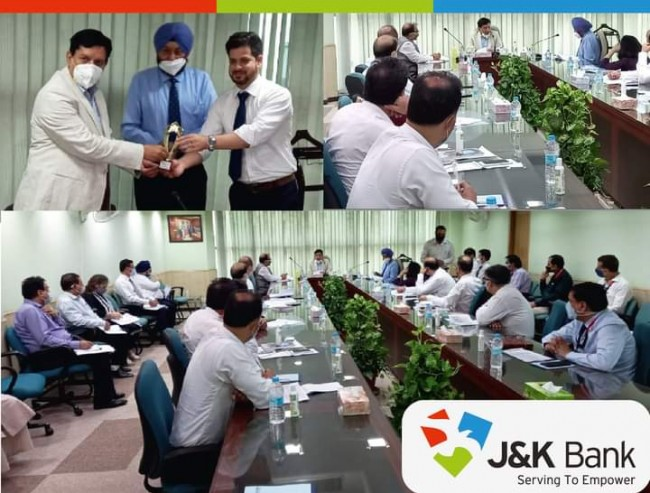 J&K Bank Chairman and Managing Director R K Chhibber today chaired a review meeting with heads of prominent business units of Delhi Zone at Zonal Office Delhi.