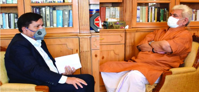 J&K Bank CMD, R K Chhibber calls upon LG Manoj Sinha