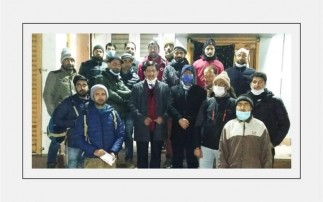 J&K Bank Chairman and Managing Director R K Chhibber interacts with staff posted at BU Tangmarg.